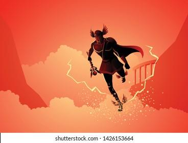 Greek god and goddess vector illustration series, Hermes, the emissary and messenger of the gods.