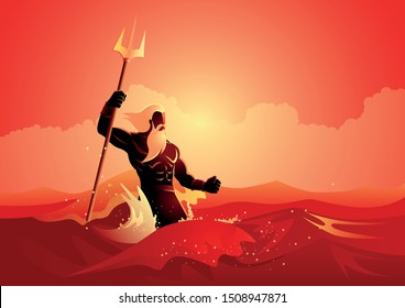 Greek god and goddess vector illustration series, Poseidon was one of the Twelve Olympians in ancient Greek religion and myth, god of the sea, storms, earthquakes and horses