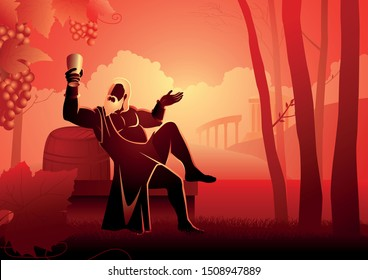 Greek god and goddess vector illustration series, Dionysus is the god of the grape-harvest, winemaking and wine, of fertility, ritual madness, religious ecstasy, and theatre in ancient Greek religion