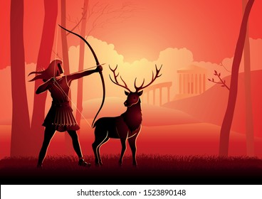 Greek god and goddess vector illustration series, Artemis, the patron and protector of young girls, and was believed to bring disease upon women and relieve them of it