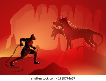 Greek god and goddess vector illustration series, the twelfth or final labour of Heracles' twelve labours, to capture Cerberus the three-headed dog the guardian of the gates of the Underworld