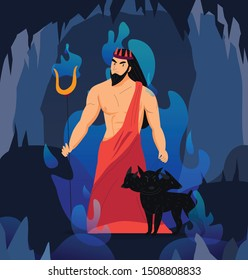 Greek god hades with cerberus in another world cartoon vector illustration