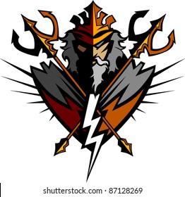 Greek God Tridents and Lightning Bolt Graphic Vector Image