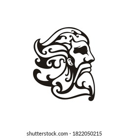 Greek god Zeus. Ancient Greek God Sculpture Philosopher. Face Zeus Triton Neptune logo design
