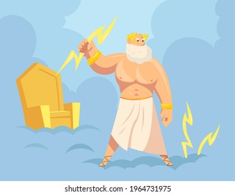 Greek god Zeus throwing lightnings from heaven. Cartoon vector illustration. Major Ancient God of sky, thunder and lightning with golden throne in background. Mythology, Greece, polytheism concept