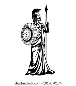 Greek Goddess Athena illustration vector template Black white