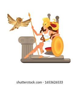 Greek Goddess Athena with Shield and Spear Sit on Throne. Owl Symbol of Wisdom Sitting on Stone Pillar. Athena Pallas Daughter of Zeus, Heroic Person of Myths Cartoon Flat Vector Illustration, Banner