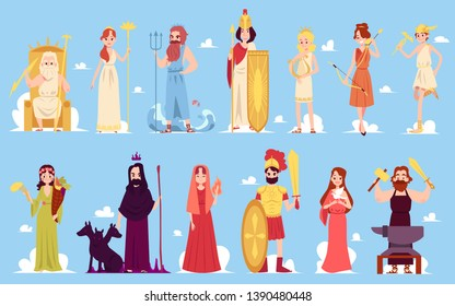 Greek goddess characters of ancient Hellenic and Roman legends and mythology set of flat vector icon illustrations on a blue background. Male and female Olympus mountain gods.