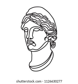 greek goddess continuous black single line style