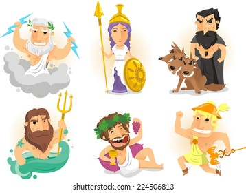 Greek Gods from Ancient Greece Myths cartoon  illustrations including Athena, Zeus, Hades, Poseidon, Hermes, Bacchus, Dionysus