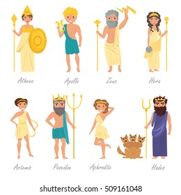 Greek gods. Artemis, Poseidon, Aphrodite, Hades, Hera, Apollo, Zeus, Athena. Vector illustration. Cartoon character. Isolated on white background. Flat. Set