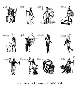 Greek gods black vector illustration isolated on a transparent background with lettering. Aphrodite, Apollo, Ares, Athena, Artemis, Dionysus, Hades, Hephaestus, Hera, Hermes, Poseidon, Zeus