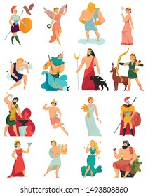 Greek gods cartoon icons set with zeus poseidon hera apollo aphrodite ares hades isolated on white background vector illustration