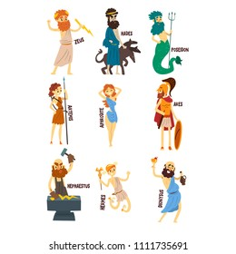 Greek Gods set, Dionysus, Hermes, Hephaestus,Zeus, Hades, Poseidon, Aphrodite, Artemis ancient Greece mythology characters character vector Illustrations