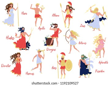 Greek Gods set, Hera, Dionysus, Zeus, Demetra, Hermes, Ares, Artemis, Aphrodite, Poseidon, ancient Greece myths cartoon characters vector