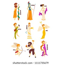 Greek Gods set, Persephone, Nike, Demetra, Hestia, Gera, Athena, Asclepius ancient Greece mythology characters character vector Illustrations on a white background
