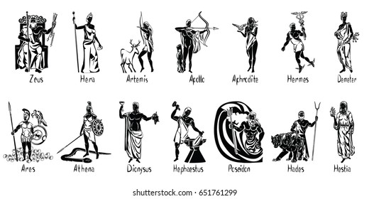 Greek gods vector illustration isolated on transparent background with captions. Aphrodite, Apollo, Ares, Athena, Artemis, Demeter, Dionysus, Hades, Hephaestus, Hestia, Hera, Hermes, Poseidon, Zeus
