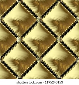 Greek gold meander vector 3d seamless pattern. Abstract ornamental background with golden spiral radial shapes, stripes, wavy lines, rhombus, frames. Geometric greek key textured modern ornament.