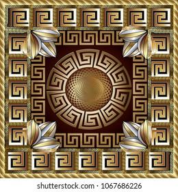 Greek gold square panel pattern. Modern vector background. Meander ornamental frame. Greek key maze border, circle, flowers. Fractal round line art greek mandala. greek ornament. Surface texture