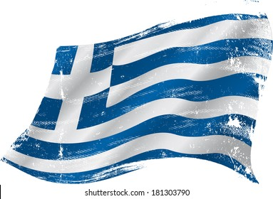 Greek grunge flag. Flag of greece in the wind with a texture