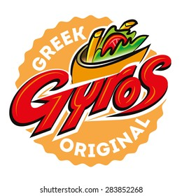 Greek gyros pita label. Vector illustration