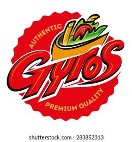 Greek gyros pita label. Vector illustration