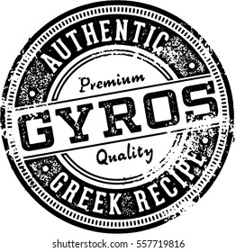 Greek Gyros Vintage Restaurant Stamp