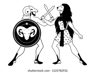 Greek heroes crashing their swords. Jason and Hercules. Fleece and lion. Shield with the image of ram. Ancient Greece style