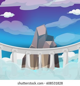 Greek High Heaven Cartoon Background Vector