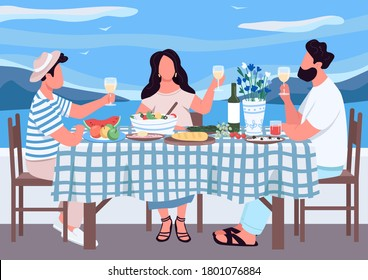 Greek holiday for friends flat color vector illustration. People eat together meal in Greece. Man and woman drink wine on holiday. Relatives 2D cartoon characters with landscape on background