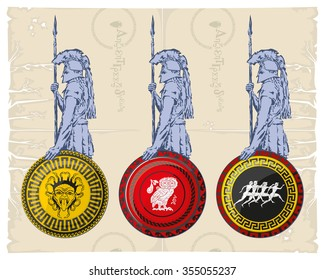 Greek hoplites with shields, vector