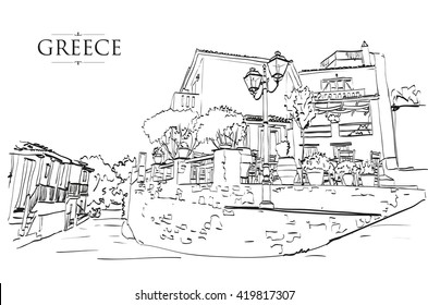 Greek houses, Vector drawing, freehand vintage illustration