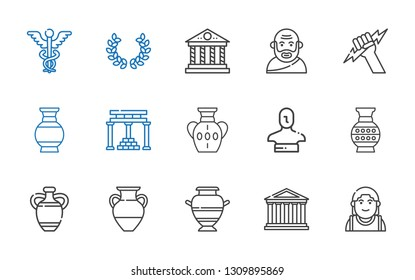 greek icons set. Collection of greek with alexander the great, parthenon, vase, statue, temple of apollo, zeus, socrates, laurel, caduceus. Editable and scalable greek icons.