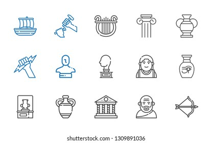 greek icons set. Collection of greek with artemis, socrates, parthenon, vase, alexander the great, sculpture, statue, zeus, column, lyre, trireme. Editable and scalable greek icons.