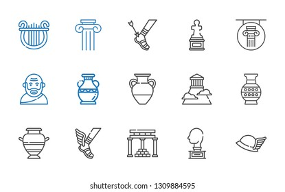 greek icons set. Collection of greek with hermes, sculpture, temple of apollo, vase, olympus, socrates, column, achilles, lyre. Editable and scalable greek icons.