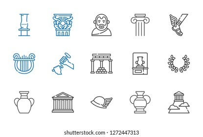 greek icons set. Collection of greek with olympus, vase, hermes, parthenon, laurel, temple of apollo, sculpture, lyre, column, aristotle. Editable and scalable greek icons.
