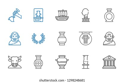 greek icons set. Collection of greek with parthenon, vase, minotaur, socrates, column, laurel, aristotle, sculpture, trireme. Editable and scalable greek icons.