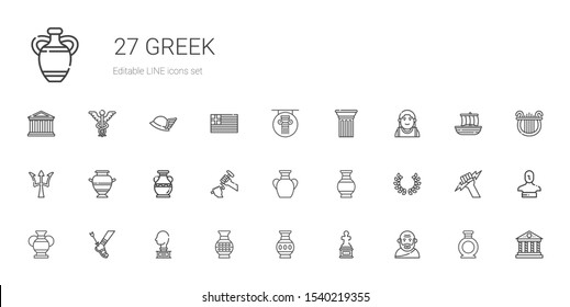 greek icons set. Collection of greek with socrates, sculpture, vase, achilles, laurel, poseidon, alexander the great, column, parthenon, statue. Editable and scalable greek icons.