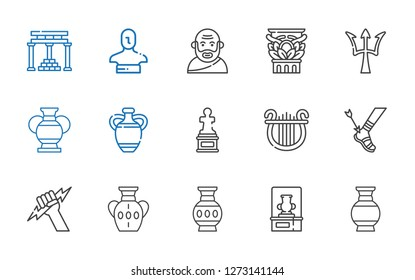 greek icons set. Collection of greek with vase, zeus, achilles, lyre, sculpture, poseidon, column, socrates, statue, temple of apollo. Editable and scalable greek icons.