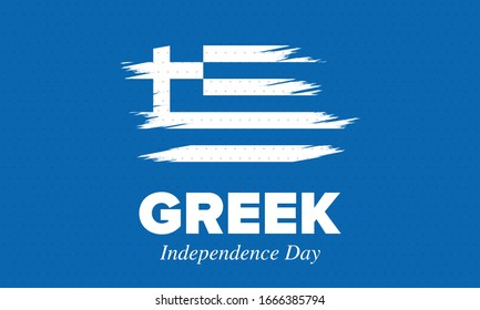 Greek Independence Day. National happy holiday, celebrated annual in March 25. Greece flag. Greek blue color. Patriotic elements. Poster, card, banner and background. Vector illustration