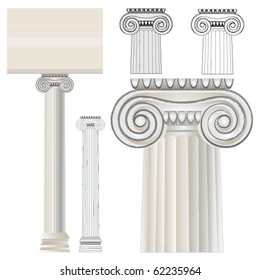 Greek Ionic Order. Ancient architecture.