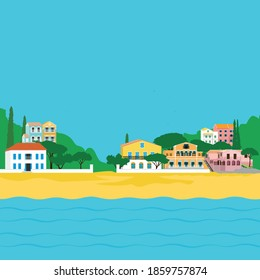 Greek island/beach and Ionian Sea/ Coastal Resort