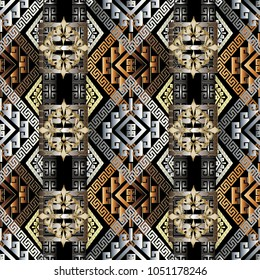 Greek key 3d seamless pattern. Geometric vector meander background. Abstract ancient ornament. Rhombus, meanders, shapes, figures, triangles, flowers. Modern design for wallpapers, fabric, textile.