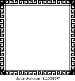 Greek key border frame. Typical egyptian, assyrian and greek motives. Arabic geometric texture. Islamic Art. Abstract geometric. Vector and illustration.