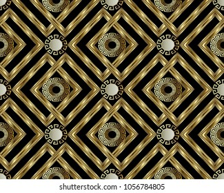 Greek key meander gold 3d seamless pattern. Vector abstract geometric background. Vintage ancient greek ornament with circles, frames, rhombus. Surface texture. Design for wallpaper, fabric, textile