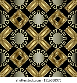 Greek key meander gold 3d seamless pattern. Vector abstract geometric background. Vintage ancient greek ornament with rhombus, circles, frames, oval, crosses . Surface ornate endless texture.