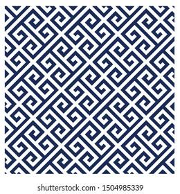Greek key pattern background seamless. Navy blue and white background.