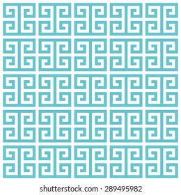 Greek key pattern background. Vector background blue green