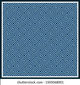 Greek key pattern background.Blue and aqua contour