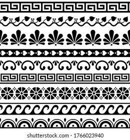 Greek key pattern, waves and geometric seamless vector design set - ancient in black and white. Traditional monochrome decoration with floral shapes inspired by traditional art from Greece